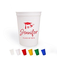 Personalized 12 ounce stadium cups available in 6 vibrant color options. Shown in white, printed in red with special instructions to print line 1 using the Inspiration letter style and to print line 2 smaller and left justified using the Americana lettering style