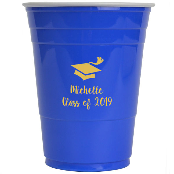 16 Ounce blue solo cup with yellow imprint color, graduation cap design and two lines of print in Sugar Plum lettering style