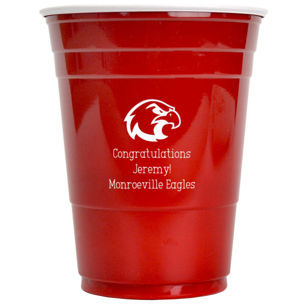 16 Ounce red solo cup with white imprint color, eagle design and three lines of print in Adventurous lettering style