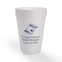 16 oz styrofoam cups for graduation parties. Shown here printed with with blue ink, american lettering style, and graduation design G1103