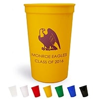 Personalized 22 oz stadium cups in yellow printed with Burgundy imprint color, Animal deisng 2055, and two lines of text in the Futura lettering style