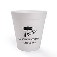 8 ounce styrofoam cup custom printed with Black imprint, Americana lettering style, and graduation design G1102