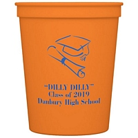 Coral color 16 Oz. stadium graduation cup personalized with cap and diploma design and 3 lines of custom print in blue imprint color