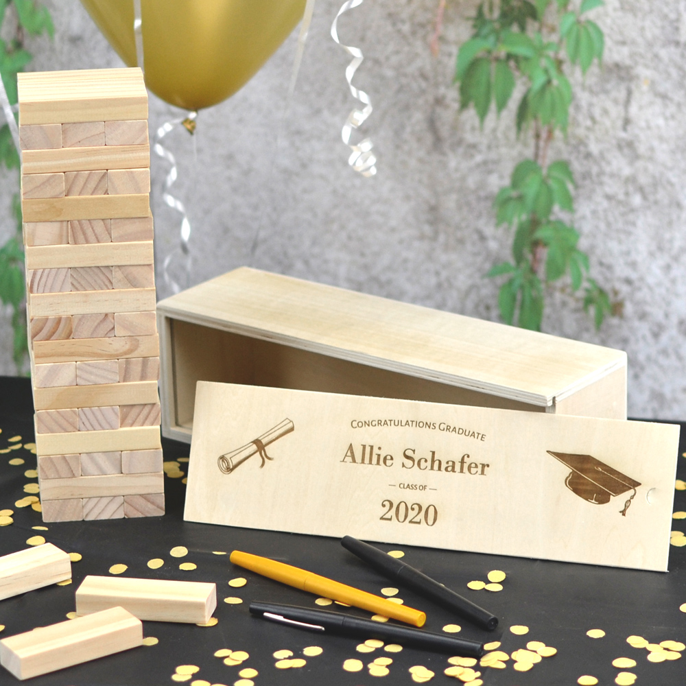 Building Memories wood stacking blocks game graduation guest book alternative