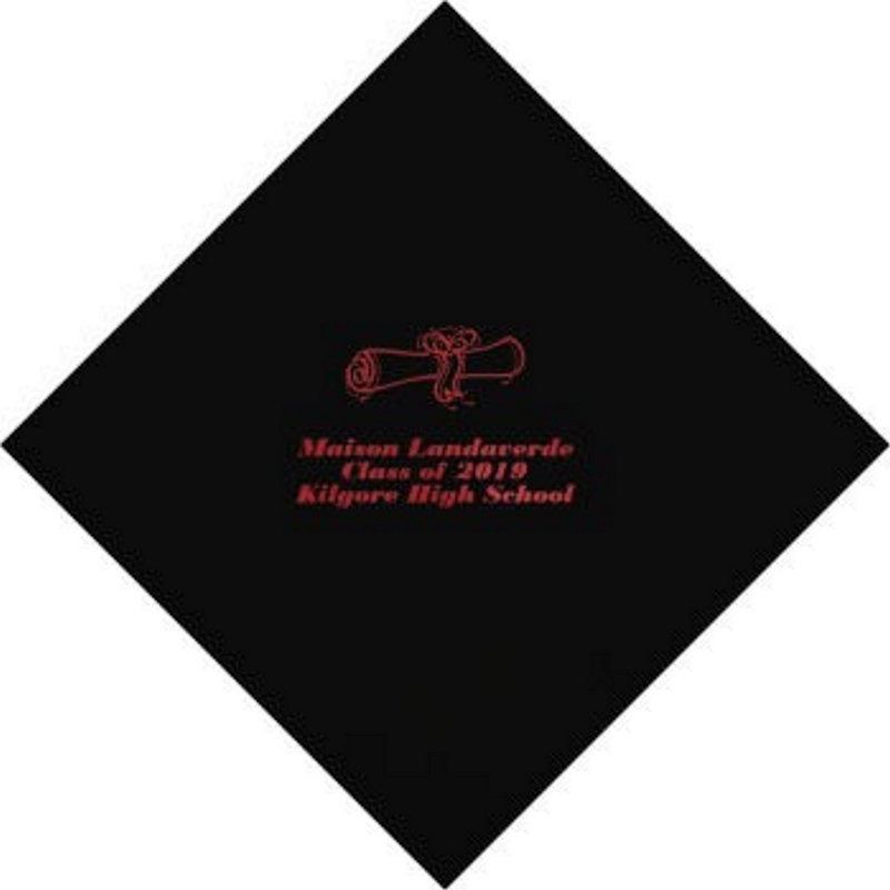 Black beverage napkin personalized with School Diploma design, graduate name and 'Class Of 2019' in red imprint color