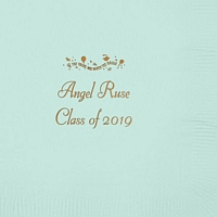 Fresh Mint color beverage napkin personalized with 'The Tassel was worth the Hassle' design, graduate name and 'Class Of 2019' in gold imprint color