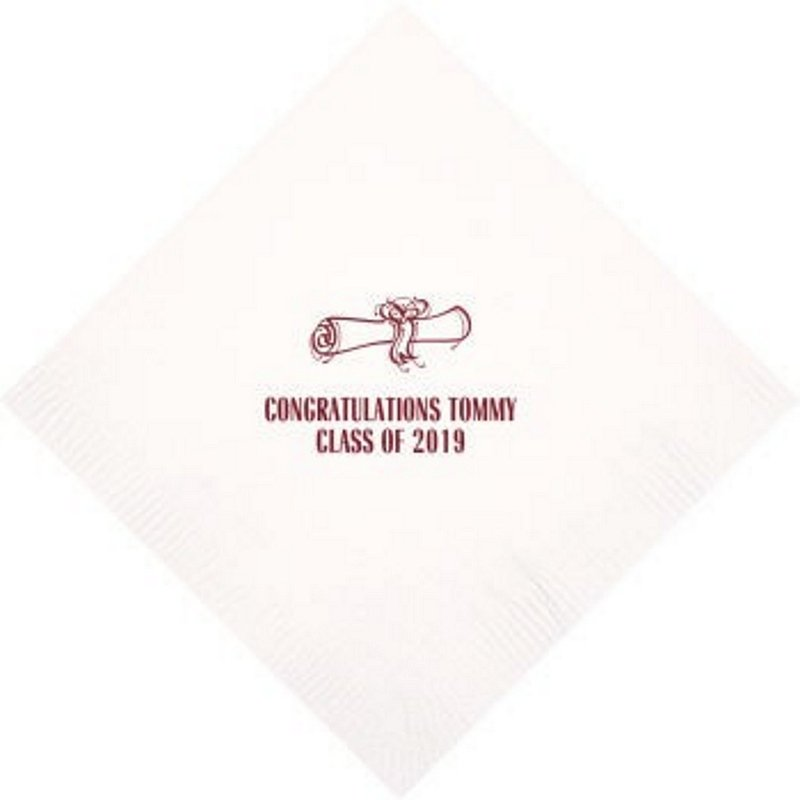White beverage napkin personalized with School Diploma design, graduate name and 'Class Of 2019' in crimson imprint color
