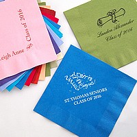 Personalized disposable luncheon napkins in assorted color options with your choice of design and text options