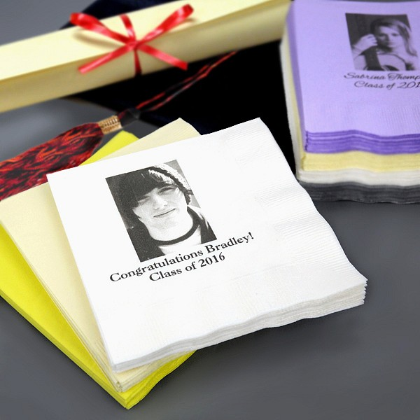 Personalized photo beverage napkins printed with customer photo and two lines of print