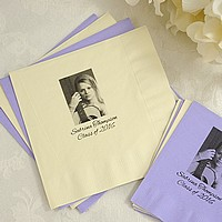 Personalized photo luncheon napkins printed with customer photo and two lines of text
