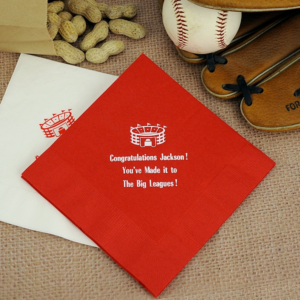 Red cocktail napkins printed with White Matte imprint color, sports design SP5, and three lines of text in Bodoni Campanite lettering style