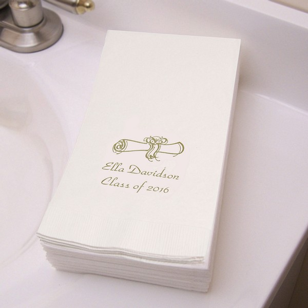 White guest towels printed with gold ink, park avenue lettering style, and graduation design G3