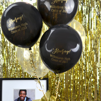 Black latex balloons printed with Gold imprint with design and two lines of custom print