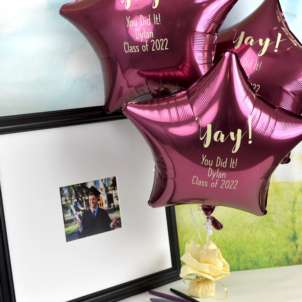 Mylar Graduation Balloon in Berry with Ivory Imprint, design G1214 - Yay and three lines of text in Quick lettering style