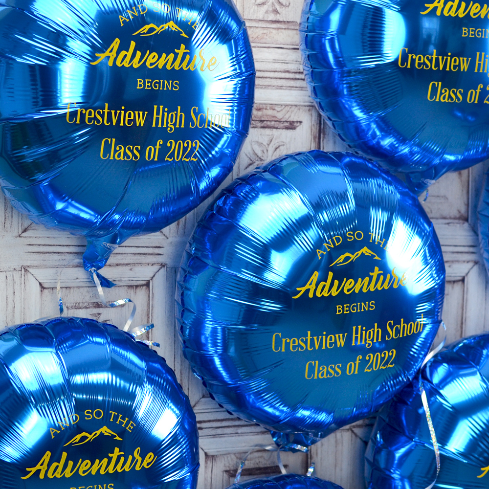 Mylar Graduation Balloon in Metallic Blue with Yellow Imprint, design G1206 - Adventure Design and two lines of text in Handsome Lettering Style