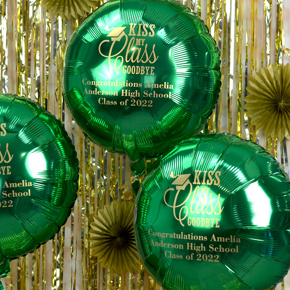 Mylar Graduation Balloon in Metallic Green with Gold Imprint, design G1208 - Kiss Class Goodbye and three lines of text in Grandiose Lettering Style