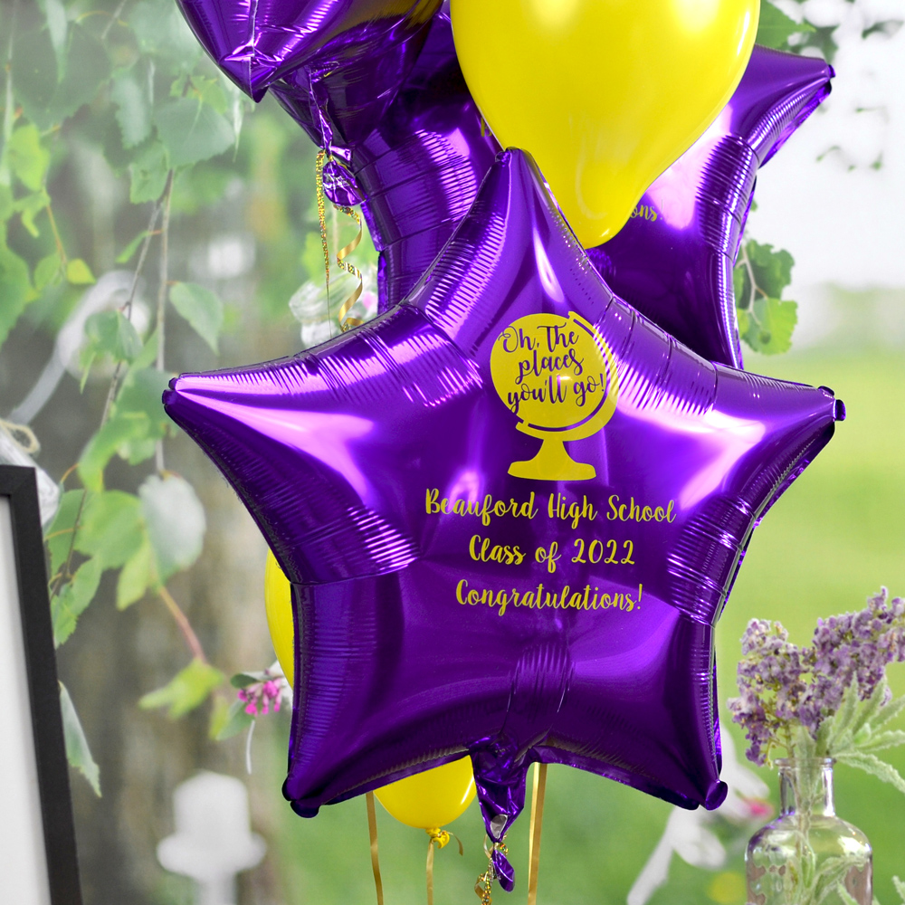 Mylar Graduation Balloon in Metallic Purple with Yellow Imprint, design G1205 - Oh The Places and three lines of text in Sugar Plum Lettering Style.