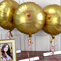 Mylar Graduation Balloon in Luxe Gold Sateen with Burgundy Imprint, design G1211 - Congrats and two lines of text in Lovable Lettering Style.