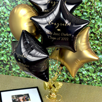 Mylar Graduation Balloon in Black with Gold Imprint, design G1210 - Congrats Formal and two lines of text in Poised Lettering Style.