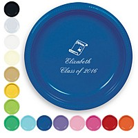 Plastic dinner plates in assorted colors with custom print. Featured here in blue with white print using the English lettering style and graduation design G1103