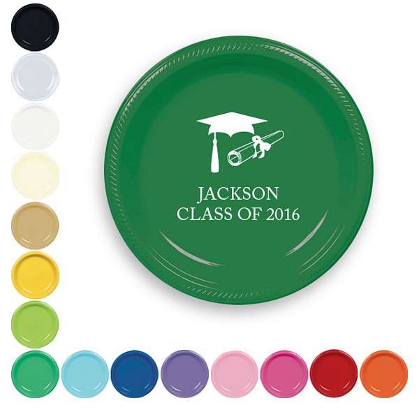 7 Inch plastic plates in assorted colors with custom print. Featured here in Green, printed with white using graduation design G1102 and American lettering style