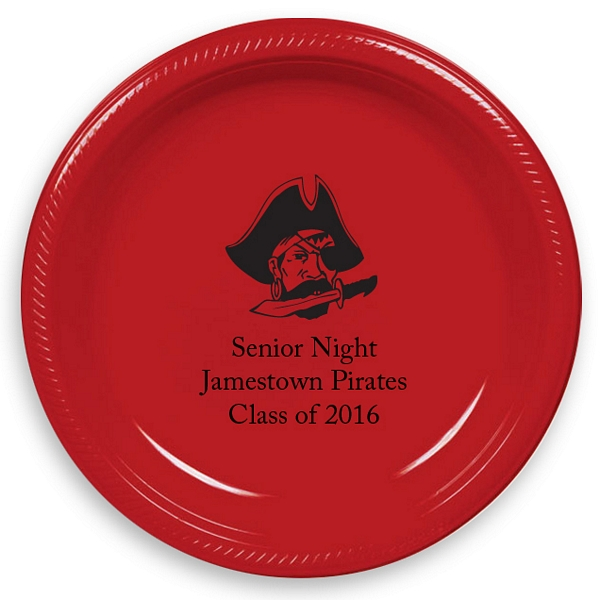 7 inch round plastic graduation plate shown in red, printed with black print, Bodoni lettering style, and customer requested mascot design. Have a mascot request? Give us a call for design availability.