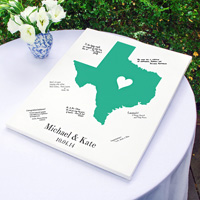 Wedding guest signature canvas personalized with home state, names, and date