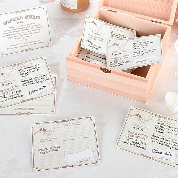 Forever tan wedding signature cards with card box