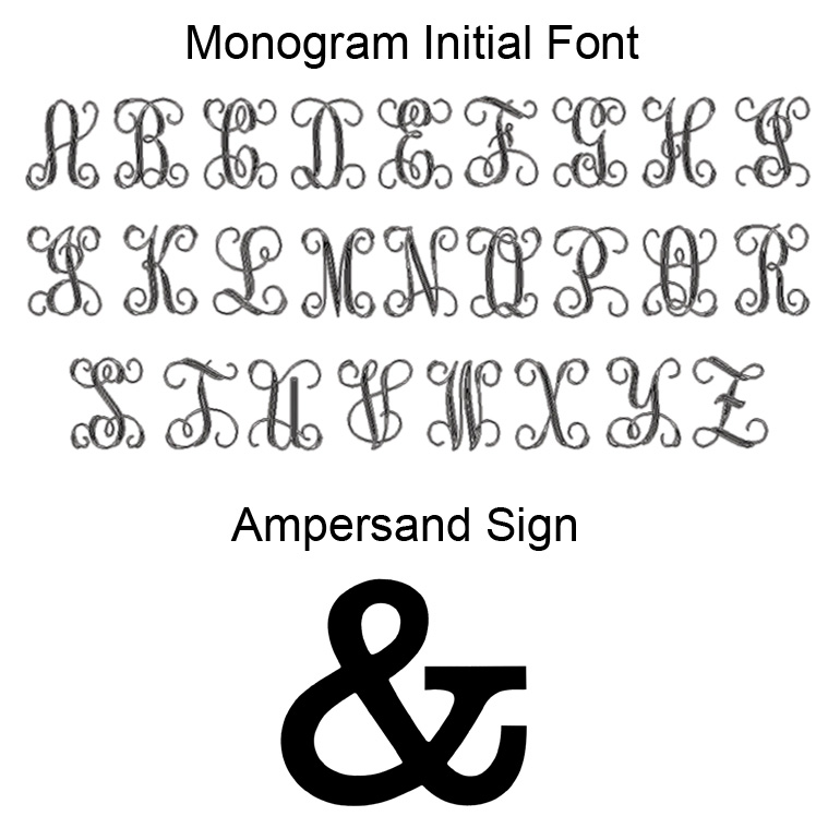Font style for bride and groom's initials, and reference for ampersand sign