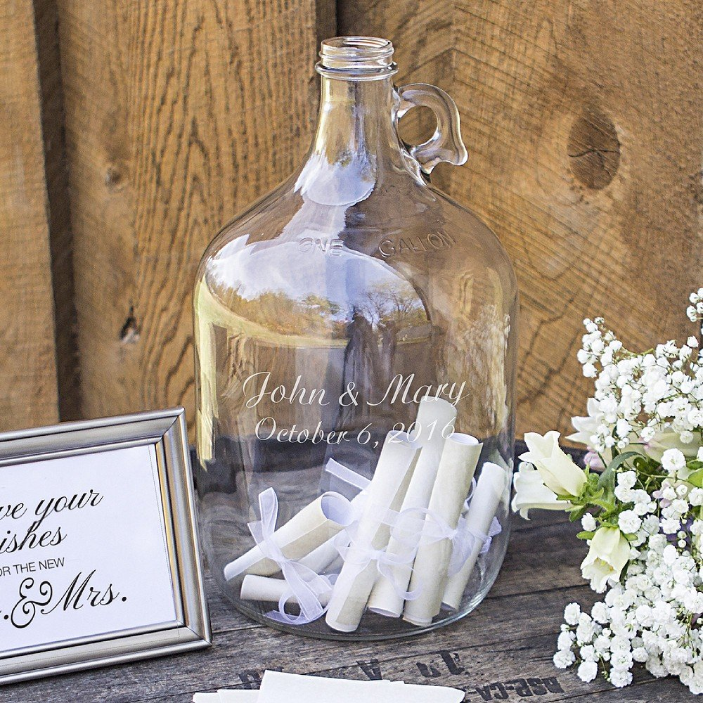 Guest signature notes inside personalized glass gallon growler wedding guest book alternative