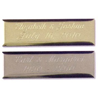 Engraved plate available in silver or gold color options with assorted engraving styles