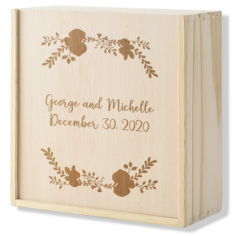 Personalized wood wedding puzzle guest book with matching personalized keepsake puzzle storage box
