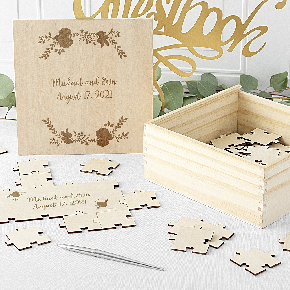 Wedding puzzle pieces in personalized wood puzzle box