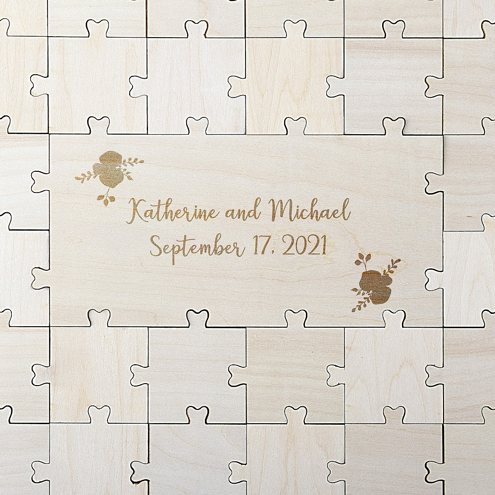 Personalized wedding puzzle guestbook assembled before guest signatures