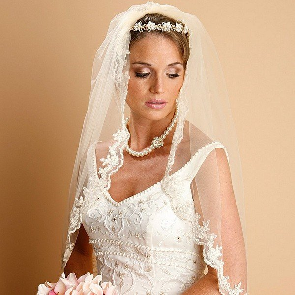 Caramel embroidered lace mantilla wedding veil
