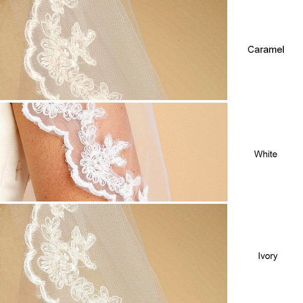 White, ivory or caramel veil color options