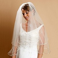 Two tiered, round, satin corded bridal veil