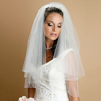Ivory, elbow length, two tier veil with seed and bugle bead edging