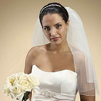 White, shoulder length, two tier veil with seed and bugle bead edging