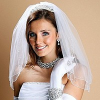 Two layer sheer veil with scattered baby pearls and sequins