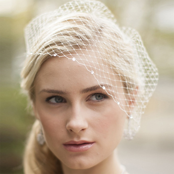9 inch crystal edge, French net visor veil