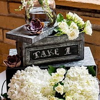 9 x 4 Aged finish decorative tin keepsake box with writable chalkboard panel on front
