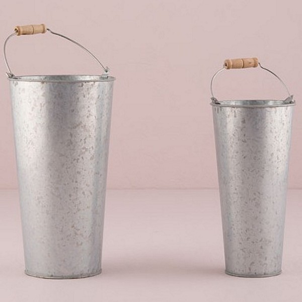 Large and small decorative galvanized French flower market buckets comparison