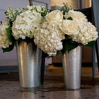 Decorative galvanized French flower market buckets with wire and wood handles