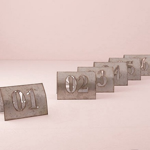 Laser cut self standing metal table numbers set 1 thru 6