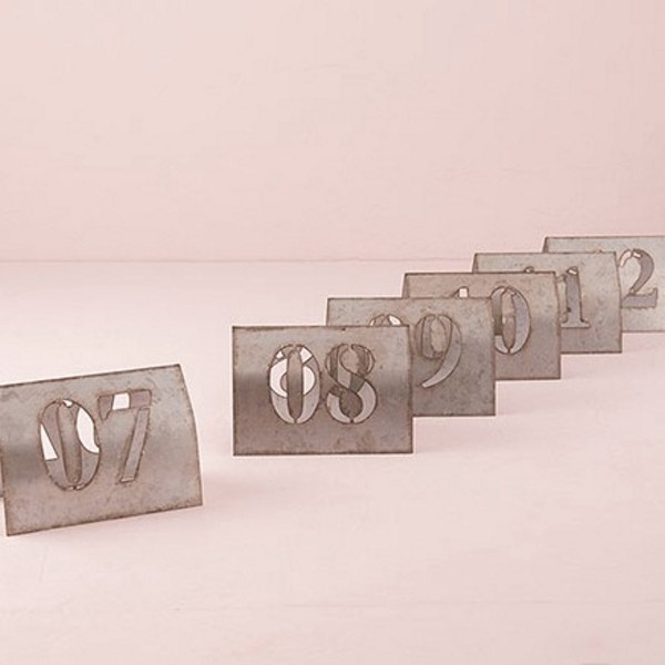 Laser cut self standing metal table numbers set 7 thru 12