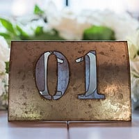 Laser cut self standing industrial chic metal table number 1 from set of 6