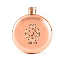 Monogrammed Gem 5 Oz. polished rose gold round hip flask personalized with single initial and name