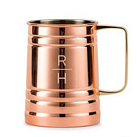 Stacked monogram 22 Oz. copper finish stainless steel beer tankard