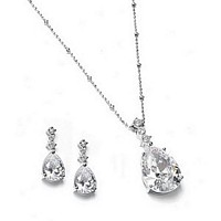Rhodium-Plated Cubic Zirconia Teardrop Necklace and Earring Set